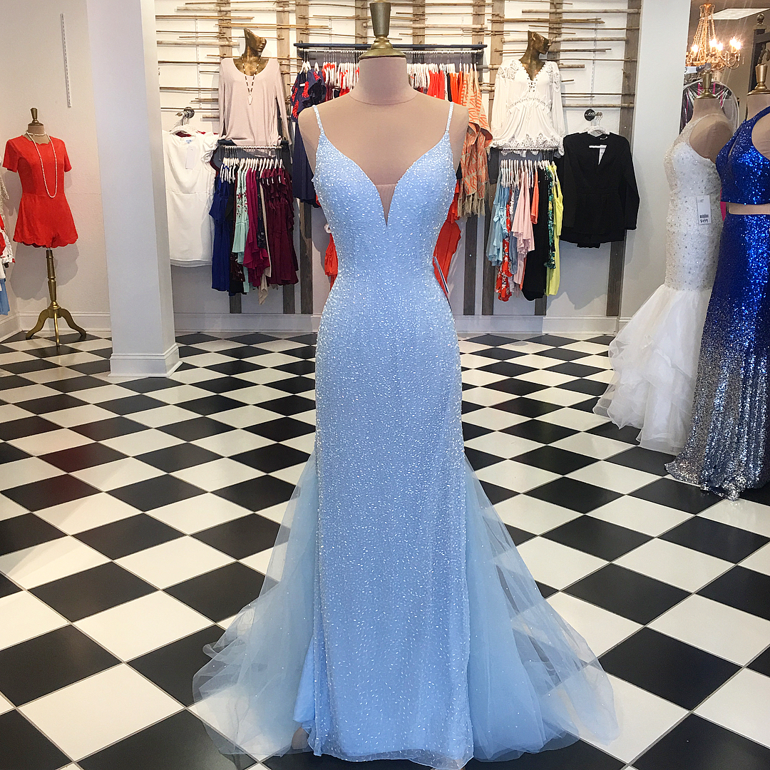 Blue Spaghetti Strap Plunging V Sequined Mermaid Floor-Length Prom Dress, Evening Dress