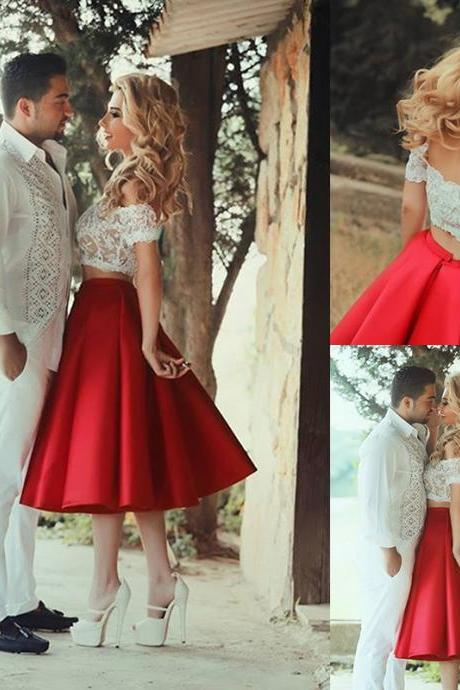 Two Piece Off the shoulder Red Short Homecoming Dress