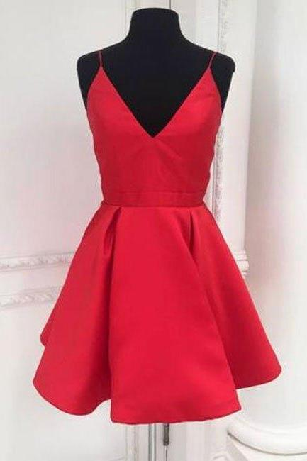 Short Red Homecoming Dress, Straps Short Red Party Dress
