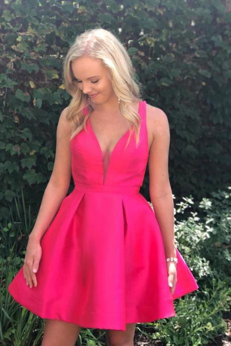 Cute Hot Pink Short Homecoming Dress Party Dress