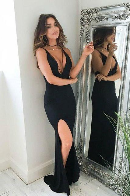Sexy V Neck Black Mermaid Long Prom Dress with Slit