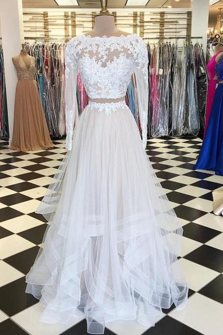 Two Piece Long Sleeves White Long Prom Dress