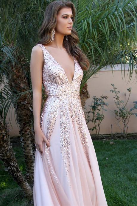 Sparkly Sequins V Neck Pink Chiffon Long Preom Dress