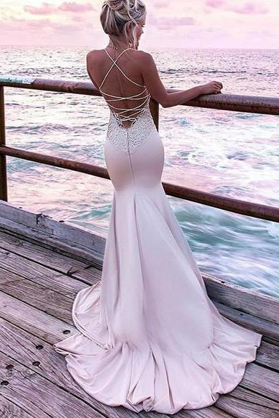 Sexy Straps Mermaid Long Formal Evening Dress Party Dress