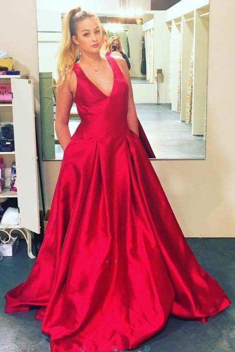 Gorgeous V Neck Red Long Prom Dress with Pockets