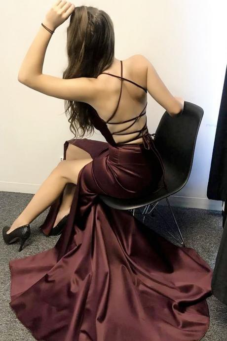 Gorgeous Straps V Neck Mermaid Burgundy Long Evening Dress with Criss Cross Back
