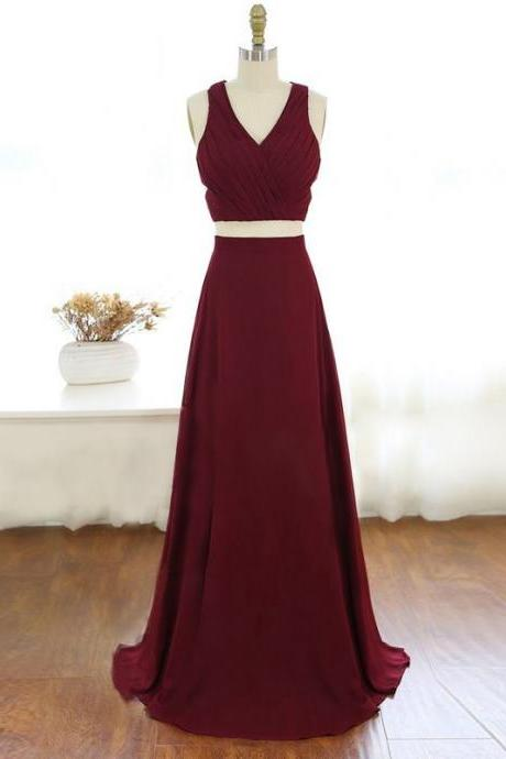 Two Piece V Neck Long Burgundy Chiffon Prom Dress Evening Dress