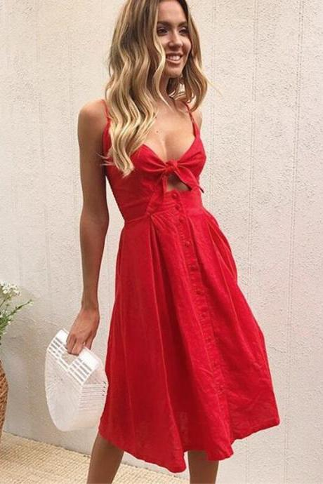 Red Spaghetti Strap Button Front Summer Dress with Tie Front