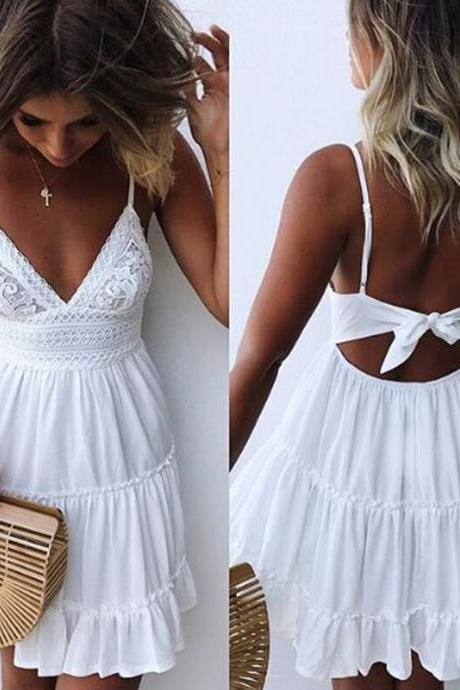 Empire Straps White Lace Dress