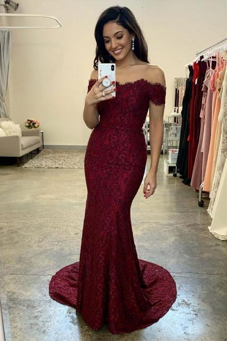 Off the Shoulder Mermaid Burgundy Lace Evening Dress