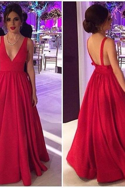 Sexy V-neck Long Red Prom Dress Evening Dress