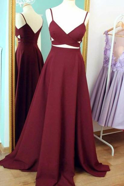 Long Dark Red Prom Dress 2017, Formal Evening Dress