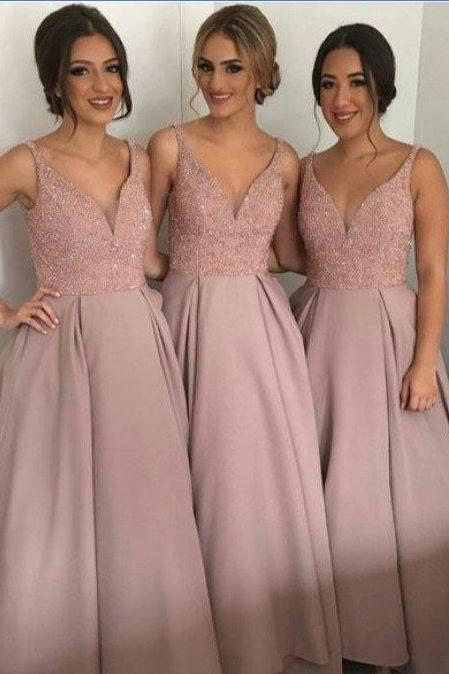 2017 Blush Pink Long Bridesmaid Dress, Wedding Party Dress