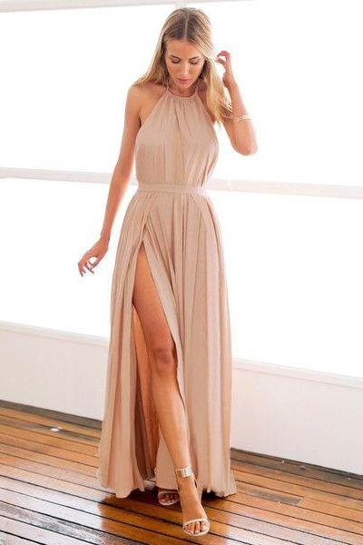 Simple A-line Long Halter Prom Dress with Slit Boho Dress