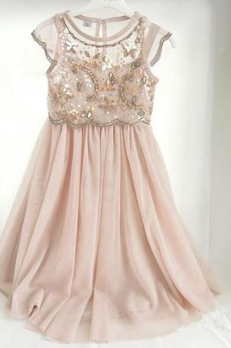 Cute A-line Long Pink Chiffon Flower Girl Dress with Glitter