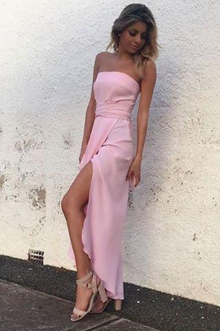 Simple Strapless Pink Long Chiffon Prom Dress with Slit