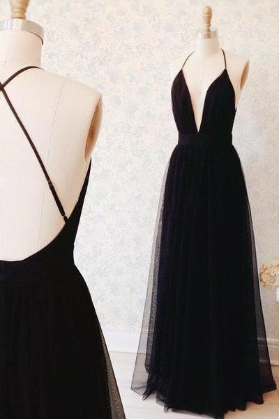 Simple A-line Black Long Tulle Prom Dress Formal Evening Dress