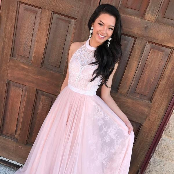 Elegant Pink Long Prom Dress Graduation Dress