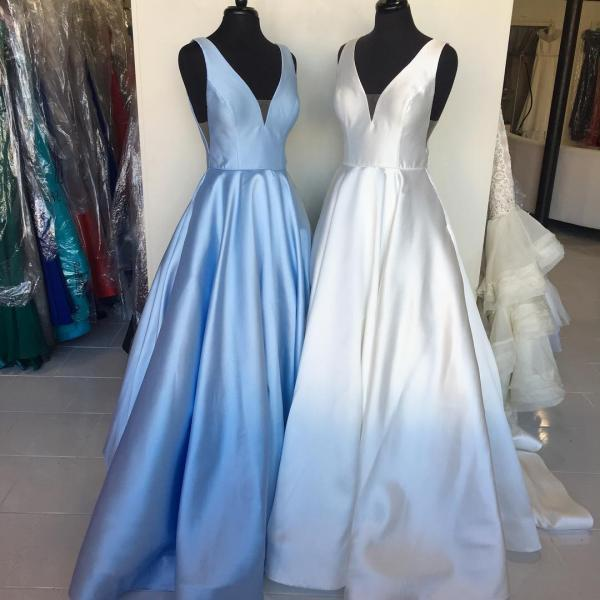 Sky Blue Long Prom Dress, Ivory Long Prom Dress, Elegant Long Prom Dress