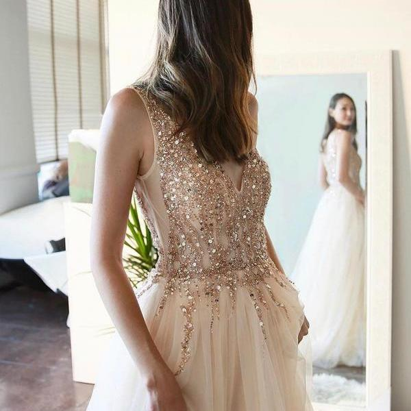 Luxurious Beading Champagne Tulle Long Prom Dress