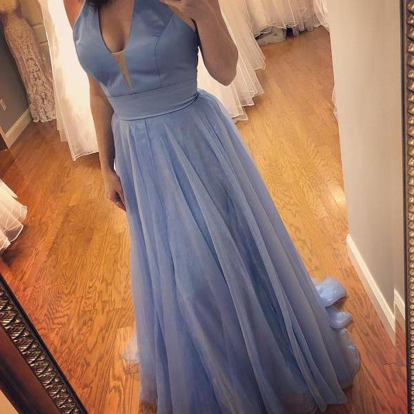 Simple Halter Light Blue Long Prom Dress