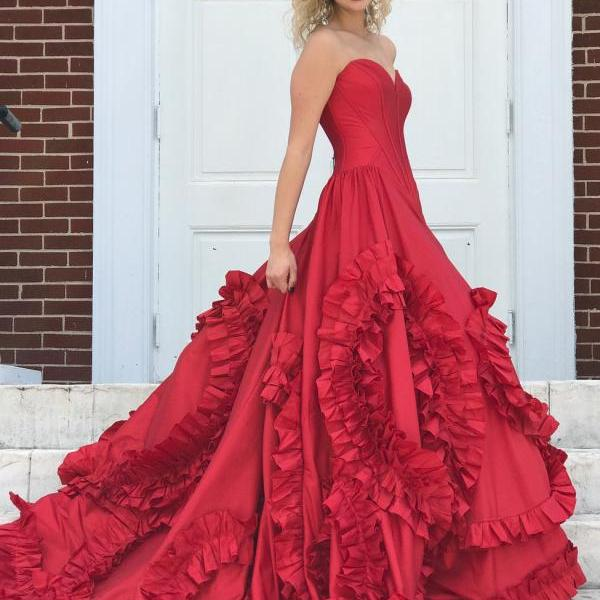 Princess Strapless Red Long Prom Dress Ball Gown